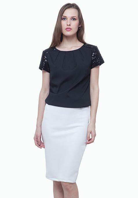Scuba Pencil Skirt - White