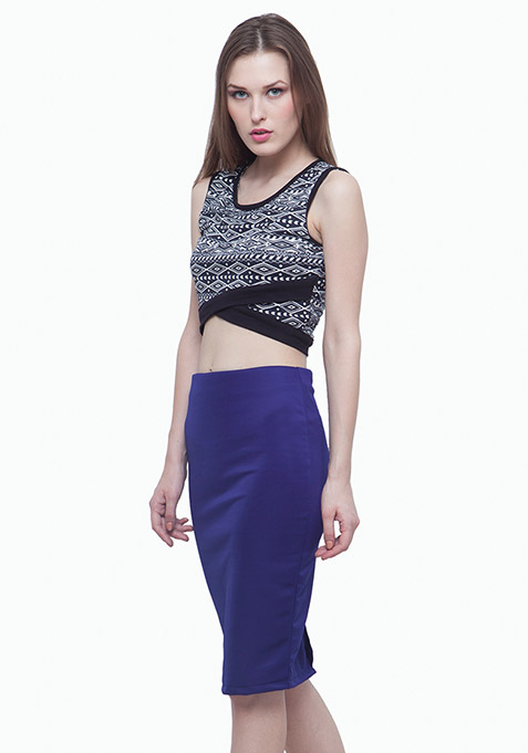 Scuba Pencil Skirt - Blue