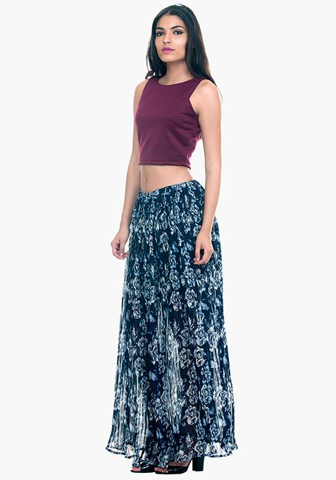 Pleats Please Maxi Skirt - Navy