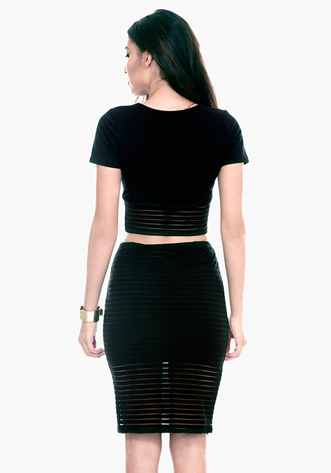 Sheer Games Pencil Skirt - Black