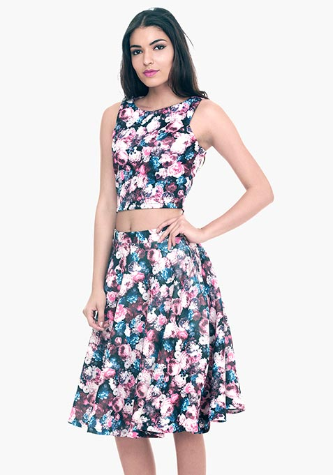 Fall Floral Scuba Midi Skirt