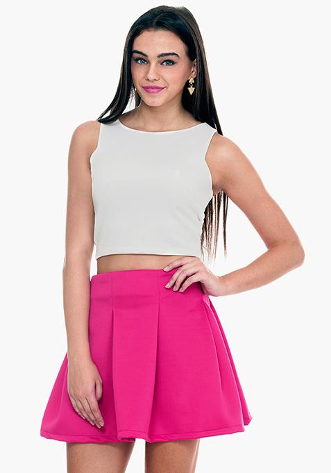 Hot Pink Scuba Skater Skirt