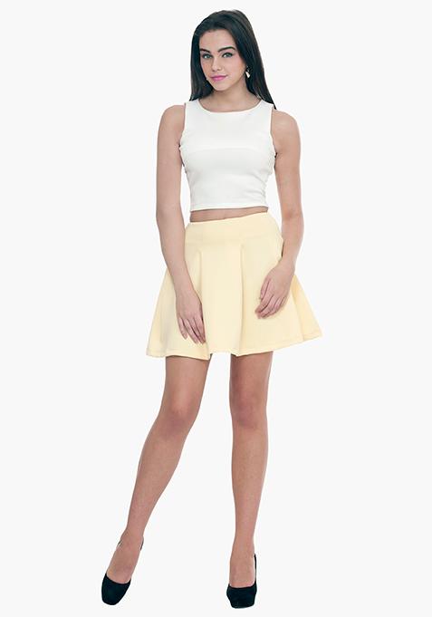 Lemon Zest Scuba Skater Skirt