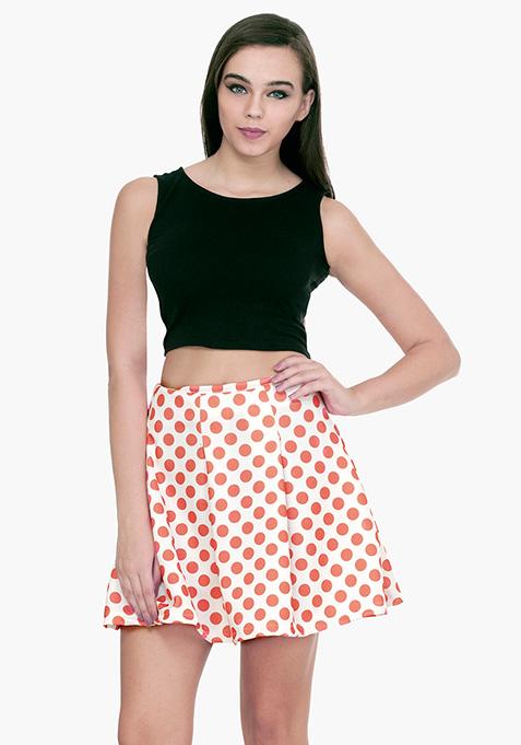 Coral Polka Dot Scuba Skater Skirt