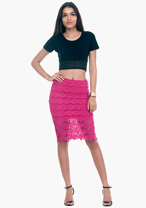 Lace Locked Pencil Skirt - Pink