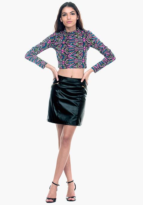 Sixties Sass A-Line Mini Skirt - Black
