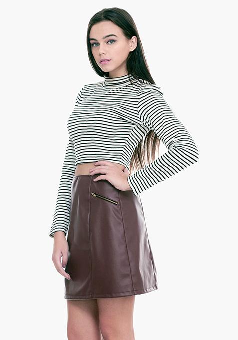 Sixties Sass A-Line Skirt - Oxblood