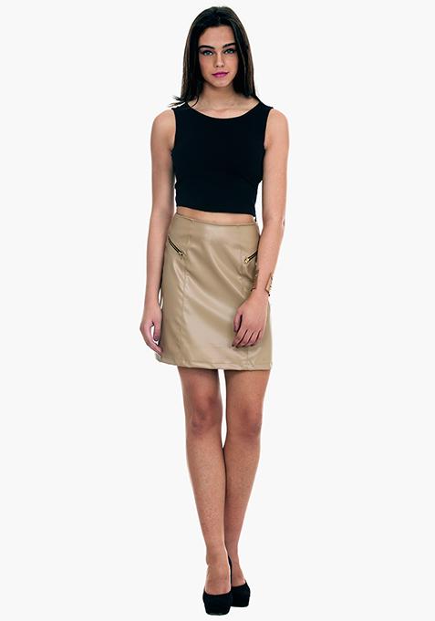 Sixties Sass A-Line Mini Skirt - Beige