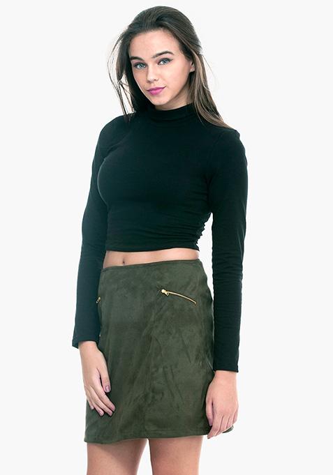 Sixties Sass A-Line Mini Skirt - Olive