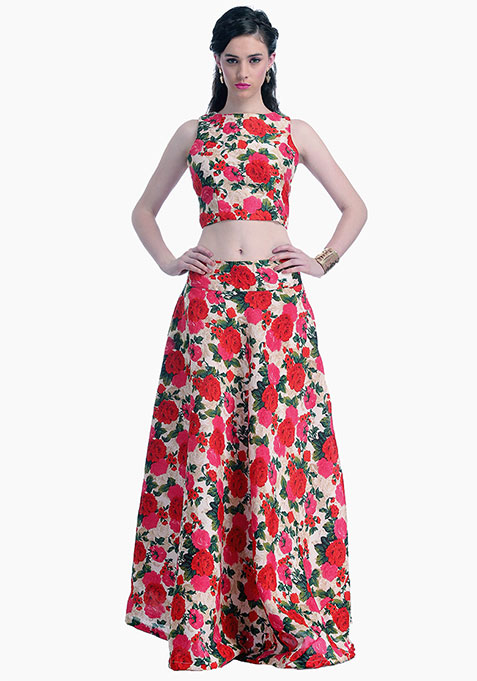 Vivid Blooms Silk Maxi Skirt