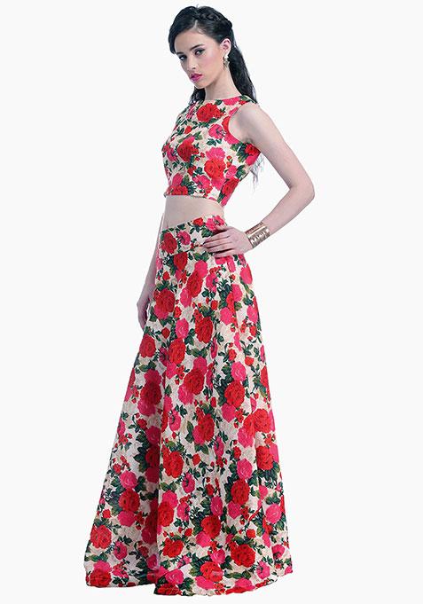 Vivid Blooms Silk Maxi Skirt