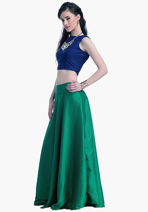 Emerald Lust Silk Maxi Skirt