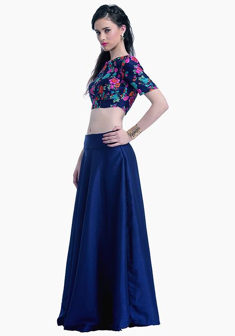 Navy Lust Silk Maxi Skirt