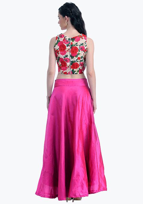 Fuchsia Lust Silk Maxi Skirt