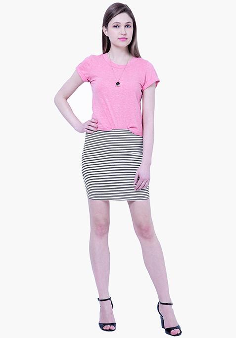 BASICS Striped Mini Skirt - Black