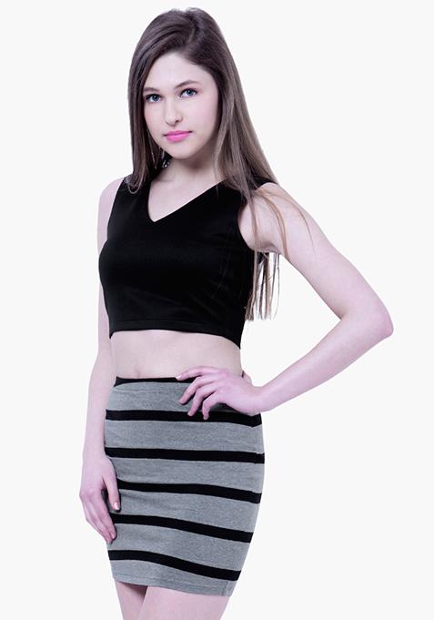 BASICS Striped Mini Skirt - Grey