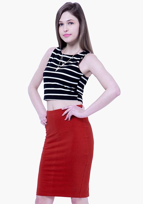 BASICS Jersey Pencil Skirt - Red