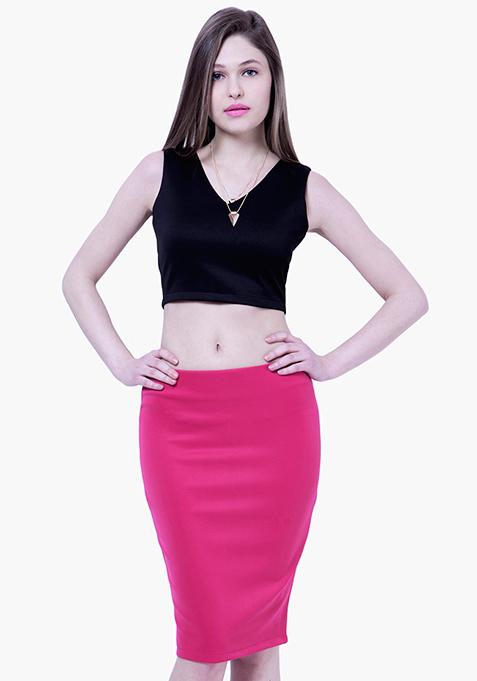 BASICS Scuba Pencil Skirt - Pink