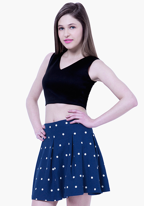 BASICS Dotted Skater Skirt - Blue