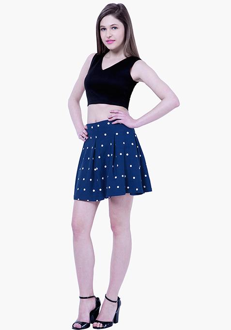 BASICS Dotted Skater Skirt - Blue
