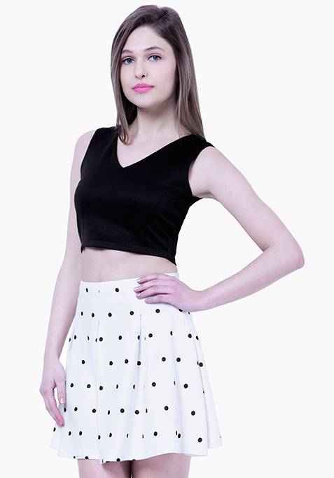 BASICS Dotted Skater Skirt - White