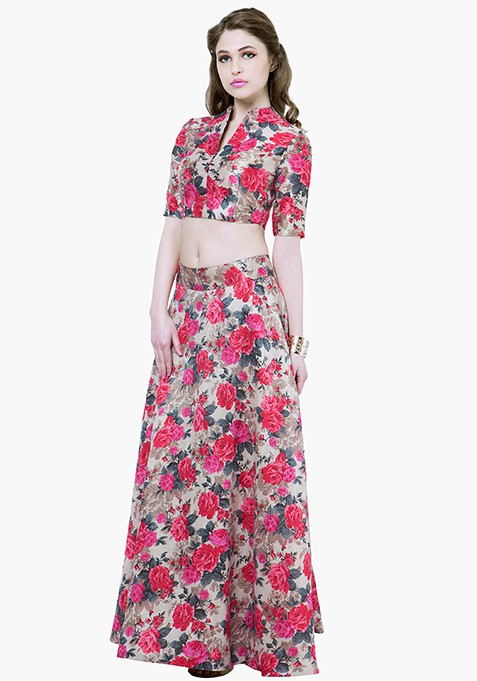 Pink Finesse Silk Maxi Skirt