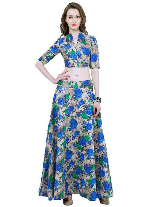 Blue Finesse Silk Maxi Skirt