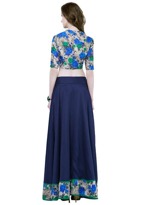 Floral Hem Maxi Skirt - Navy