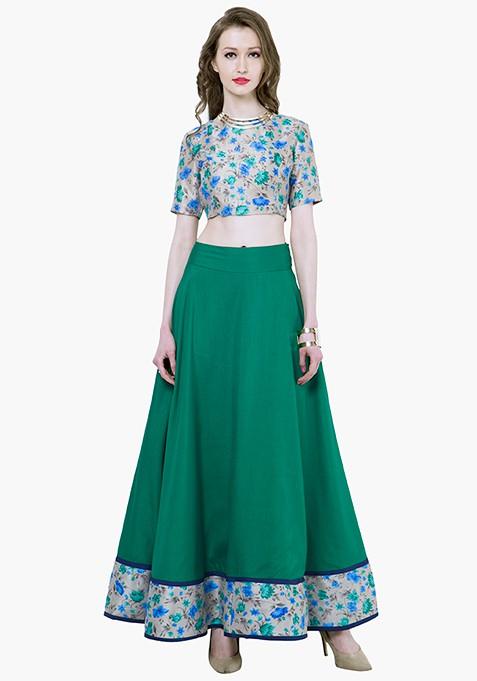 Floral Hem Maxi Skirt - Green