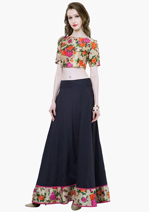 Floral Hem Maxi Skirt - Black