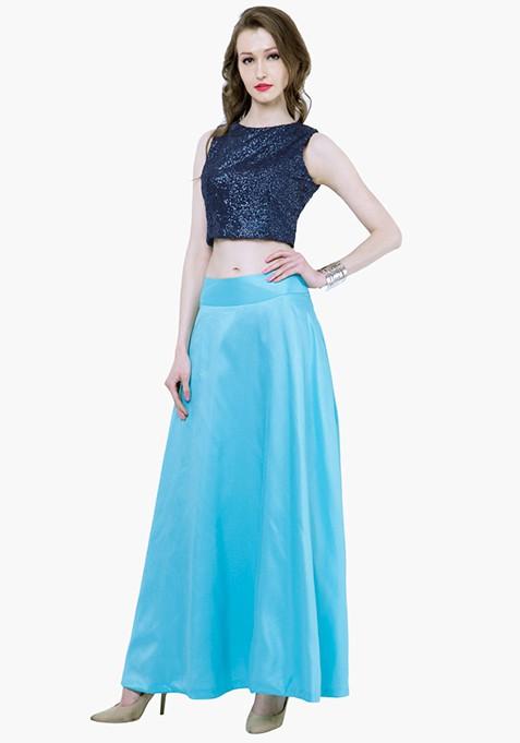 Silk Lush Maxi Skirt - Aqua