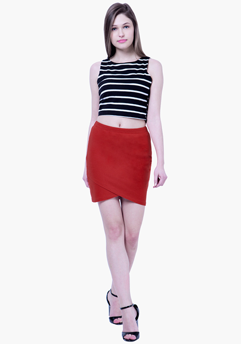 BASICS Wrap Mini Skirt - Red