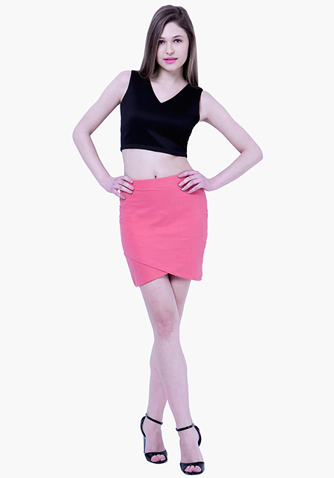 BASICS Wrap Mini Skirt - Pink