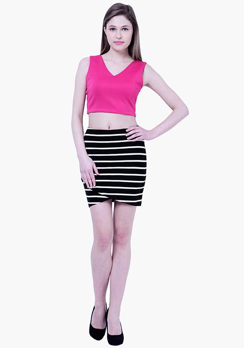 BASICS Wrap Mini Skirt - Stripes