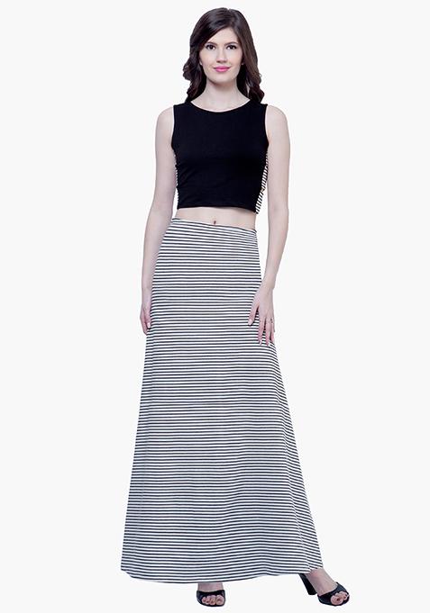 Flared Stripe Maxi Skirt - Monochrome