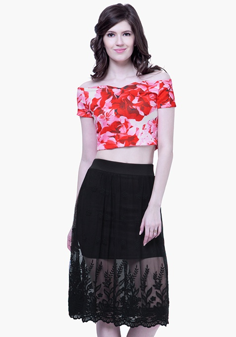Black Mesh Embroidered Skirt