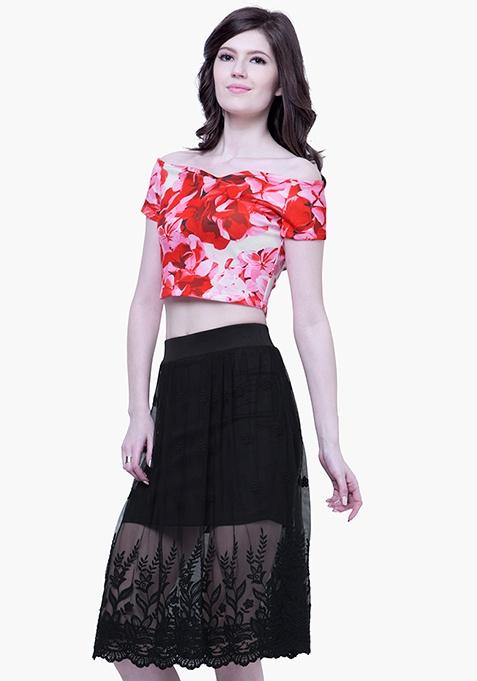Black Mesh Embroidered Skirt