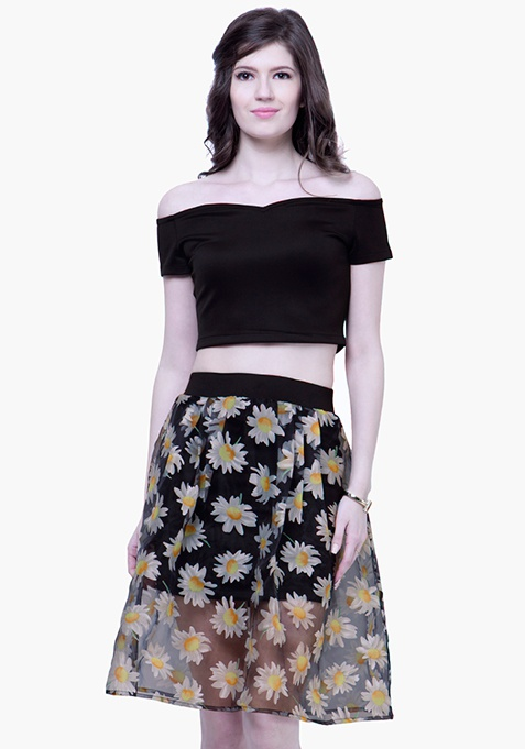 Sheer Sneak Midi Skirt - Daisy