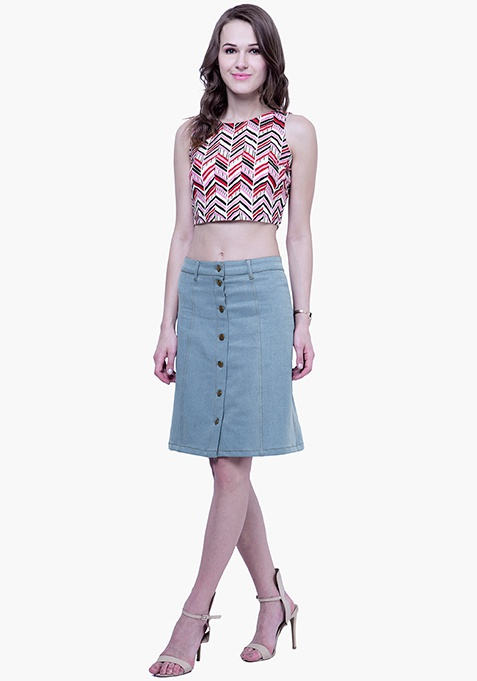 Denim Midi Skirt - Light Wash