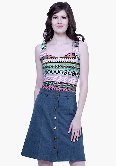 Denim Midi Skirt - Medium Wash