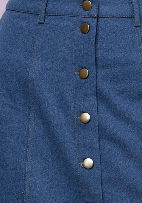 Denim Midi Skirt - Medium Wash