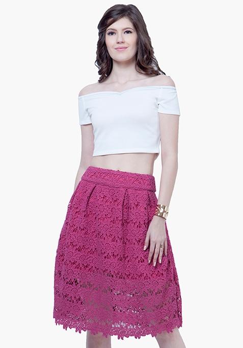 Lace Locked Midi Skirt - Pink