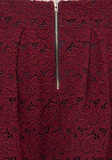 Lace Locked Midi Skirt - Oxblood