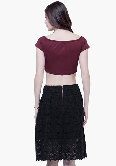 Lace Locked Midi Skirt - Black