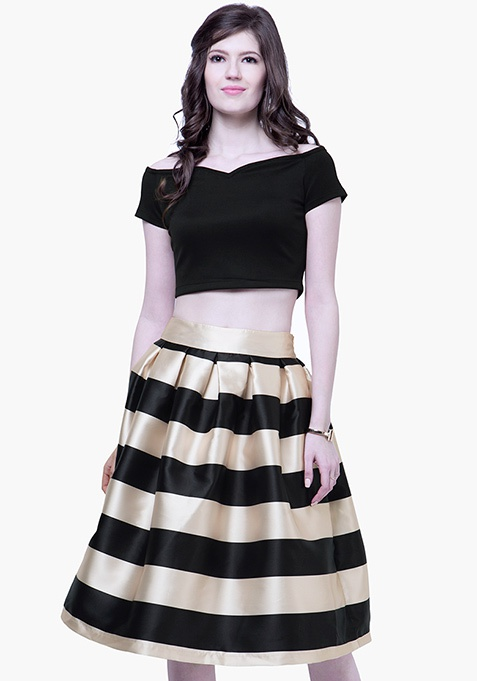 Glam Satin Midi Skirt - Stripes