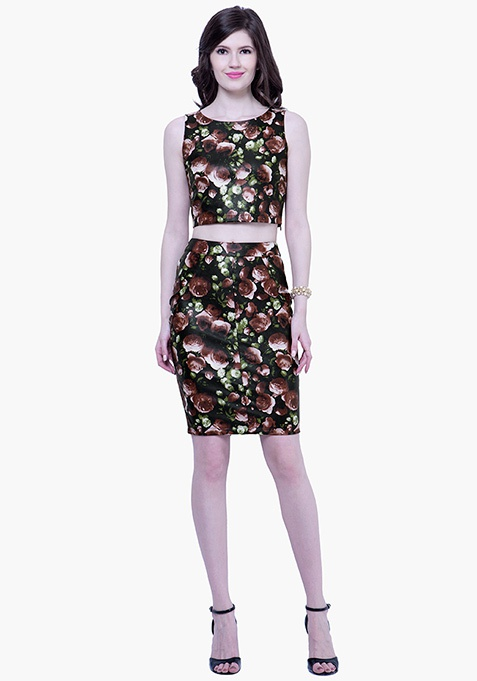 Floral Leather Pencil Skirt