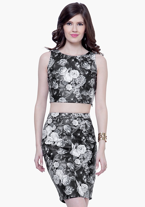 Floral Leather Pencil Skirt - White