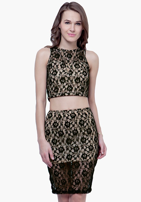 Lace High Pencil Skirt - Black