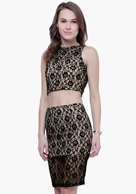 Lace High Pencil Skirt - Black