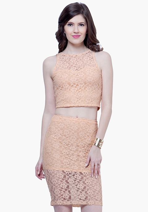 Lace High Pencil Skirt - Nude